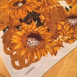 Vintage Chanel Sunflower & Wheat Print Silk Scarf